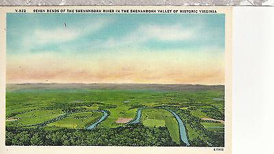 Seven Bends Of Shenandoah River And Valley    Va   Unused Linen Postcard 12034