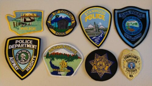 8 different Washington police patches - Lot 4 - postpaid to US