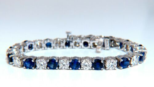 13.48ct Natural Vivid Royal Blue Round Sapphires Diamond Bracelet 14 Karat