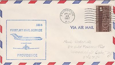 Uso 340  1967 Usa 8C First Jet Air Mail Service Providence  340Lk
