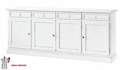 CLASSICO madia bassa Shabby Chic bianca con 4 sportelli e 4 cassetti sala 1380
