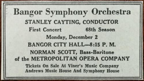 Bangor Symphony Orchestra, Bangor City Hall Maine U. S. A. Vintage Advert
