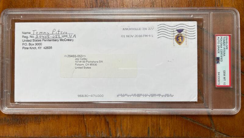 "Hit Man Tommy ""Karate"" Pitera Signed Envelope PSA Gem Mint 10 AUTO Mafia, Mob"
