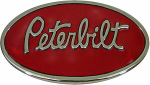 Peterbilt Belt Buckle, Die Cast, Chrome Finish, Red Enamel Background