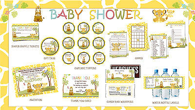 SIMBA Lion King Baby Shower Party Printables Deluxe Package - Print your - Party Printables
