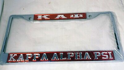 Kappa Alpha Psi Three Greek Letter License Plate Frame-Style 2-Crimson/Silver