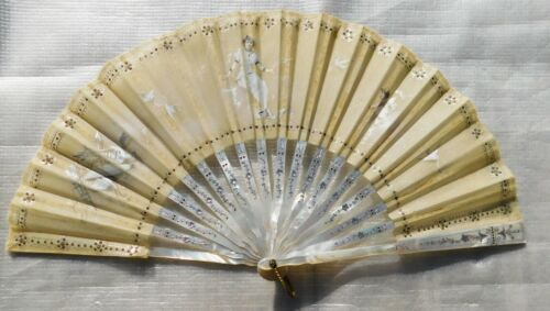 ANTIQUE MOTHER OF PEARL AND HAND PAINTED ORGANDY  HAND FAN