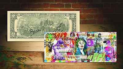 BATMAN GOTHAM CITY Rency / Banksy ART on GENUINE Tender U.S. $2 Bill HAND-SIGNED