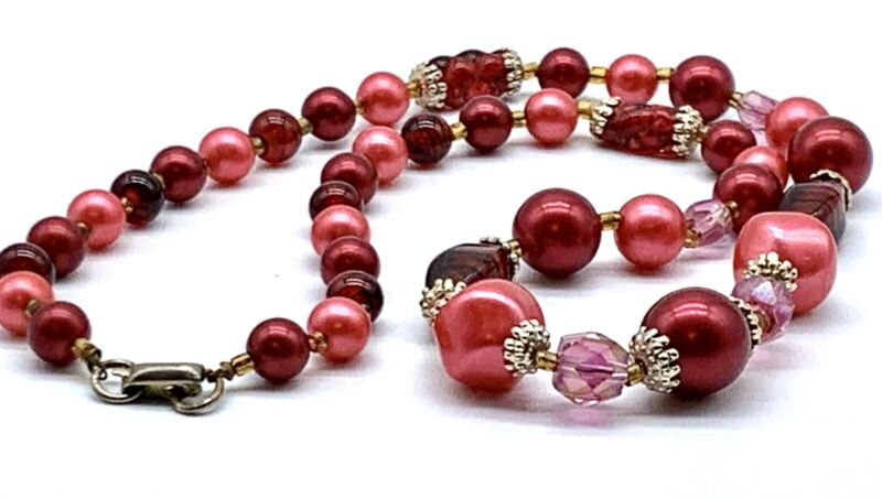 Vintage Collectible Pink Rose Cranberry Glass Bead Necklace Coro Signed Necklace
