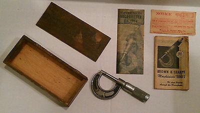 Vintage Brown Sharpe Mfg Micrometer Caliper 11 W Original Wood Box Manuals