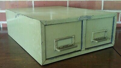 Vintage Steelmaster Metal Index Small Card Holder Cabinet File Box Two Drawer