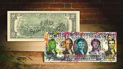 TRUMP FAMILY PRESIDENTS Rency / Banksy ART GENUINE U.S. $2 Bill HAND-SIGNED