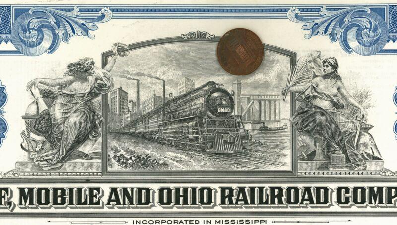 Train STOCK CERTIFICATE Gulf Mobile & Ohio Railroad Company ALLEGORICAL LADIES
