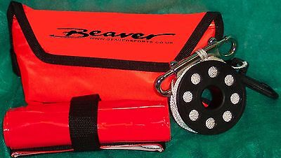 Beaver SCUBA diving reel & dSMB set very compact & fits with line into pouch SMB