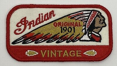 Indian Motorcycle Patch Vintage Style Retro Iron Sew On Hat Cap Jacket Bike Red