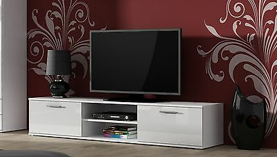 High gloss white tv cabinet stand entertainment unit 2 doors | modern design