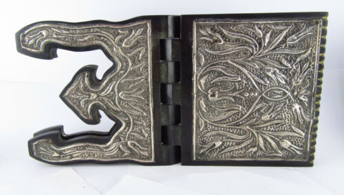Floral Repousse .800 Grade Silver Clad Folding Wood Quran Koran Stand