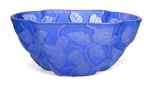 VINTAGE ART DECO PHOENIX GLASS REUBEN LINE BLUE OLIVES BRANCHES PILLOW VASE BOWL
