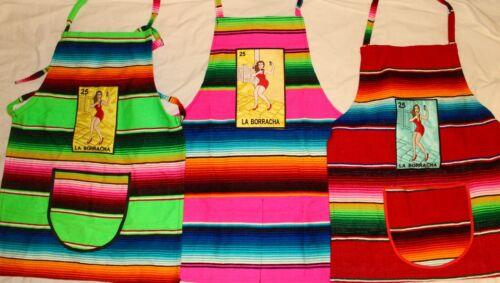 Mexican Loteria Sarape Apron LA BORRACHA. 1 APRON serape mandil. colors may vary