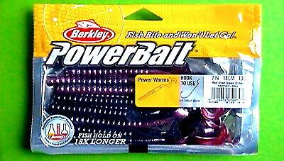 """Watermelon Red Glitter 8 ct - New BERKLEY POWERBAIT 7/"""" POWER WORM"""