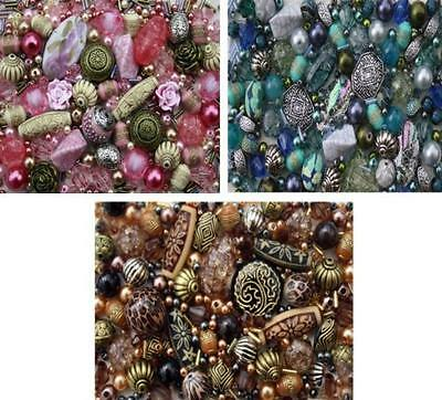 Approx X 1200 Jewelry Making Beads Mix Starter Kit for Beginners in Blue Brown &