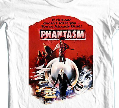 Zombie Movies 1980s (Phantasm T-shirt retro 1980's sci-fi horror b-movie zombie 100% cotton white)