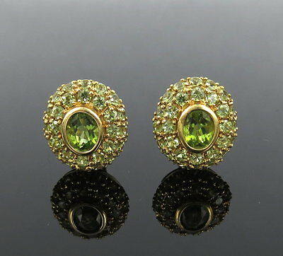 Vintage 7.50ct Natural Peridot & 18K Yellow Gold Dome Clip Earrings