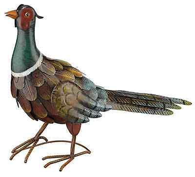 Pheasant Standing Bird Metal Art Garden Statue ...