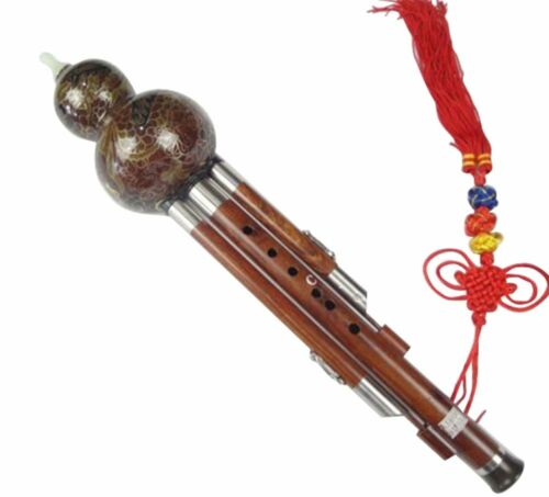 Sandalwood Cloisonne 3 Octaves Hulusi Flute Woodwind 108T+Case+How to Play Guide