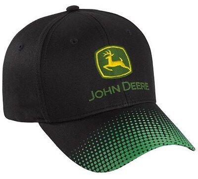 NEW John Deere Black Cap Green Gradient Dot Visor JD Hat 261582
