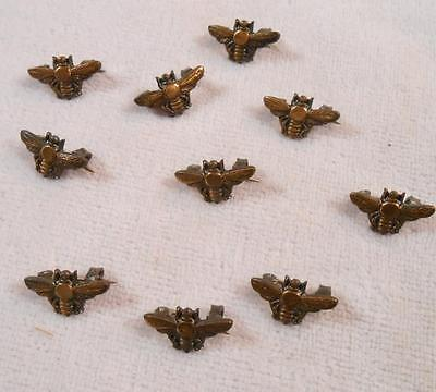 10 Vintage Small Bronze Insect Pins - Honey Bees
