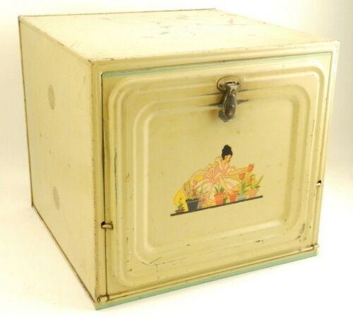 Vintage Nesco Metal Bread Box Cake Pie Safe Cabinet Southern Belle Lady Flowers