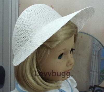 "Lovvbugg White STRAW POKE BONNET HAT for 18"" American Girl Doll Clothes Accessory"