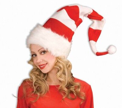 TALL RED & WHITE STRIPE BENDABLE ELF HAT Long Adult Christmas Santa Cap Dr - Long Elf Hat