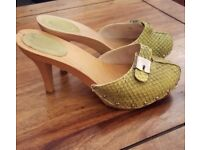 Scholl mules size 38 high lime green