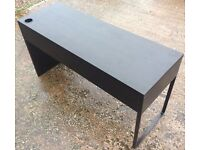 IKEA MICKE Black / Brown Desk with 2 Drawers & Cable Port