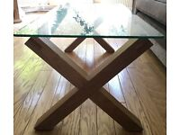 REDUCED : Oak & Glass 'Newport' X-Leg Coffee Table