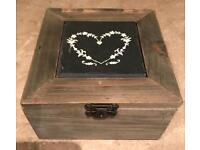 Wooden Box with Slate Insert and Love Heart
