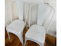 2 White Metal Tolix Style Bistro Cafe Chairs, Patio, Balcony - £40 the pair