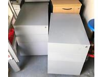2 office pedestals with keys grey metal excellent condition