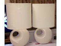 Pair BHS Ivory Ceramic Oval Lamps & Bulbs - bargain!!
