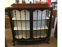 Mahogany bowfronted display cabinet