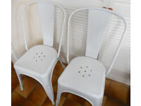 2 White Metal Tolix Style Bistro Cafe Chairs, Kitchen, Patio, Balcony - £40 the pair
