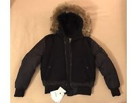 Moncler Muscade Bomber Quilted Goose Down Jacket Navy Ski Coat 2 M Authentic New RRP £1500