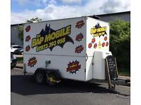 Catering trailer & established pitch for sale in Melton Mowbray, Leicestershire.