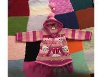 6-12m girls wool hooded jumper