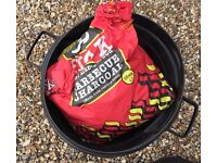 Round Webber type BBQ with Bin Full of Charcoal and Lighter fluid