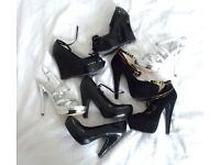 Kurt Geiger worn New ladies wedge platform heel shoes silver black sandals size 4 job lot bundle