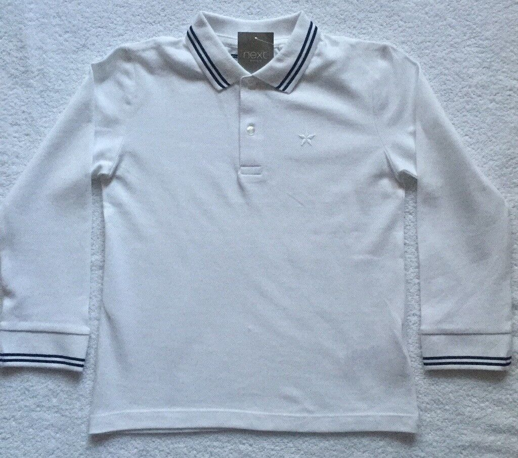 d97209f80 BNWT Next Boy White Long Sleeve Polo 5 - 6 Years