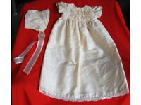 Brand New Christening Gown and Bonnet in Pure Dupion Ivory Silk.